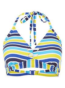 Stripe Print Eyelet Bikini Top