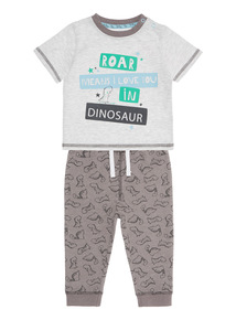 Boys Grey Dinosaur Tee and Joggers 2 Pack (0-24 Months)