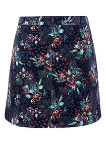 Multicoloured Printed Cord Mini Skirt