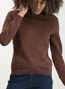 Brown Bobble Roll Neck Jumper