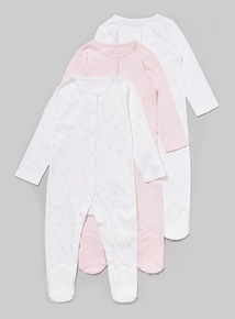 3 Pack Pink Sleepsuits (Tiny baby-36 months)
