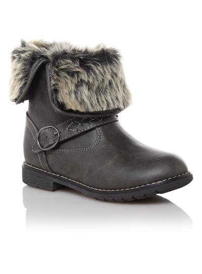f5b203b60061 Kids Girls Grey Fur Lined Boots