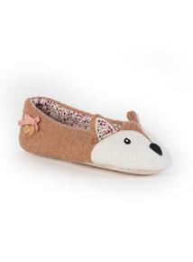 Brown Fox Ballerina Slippers