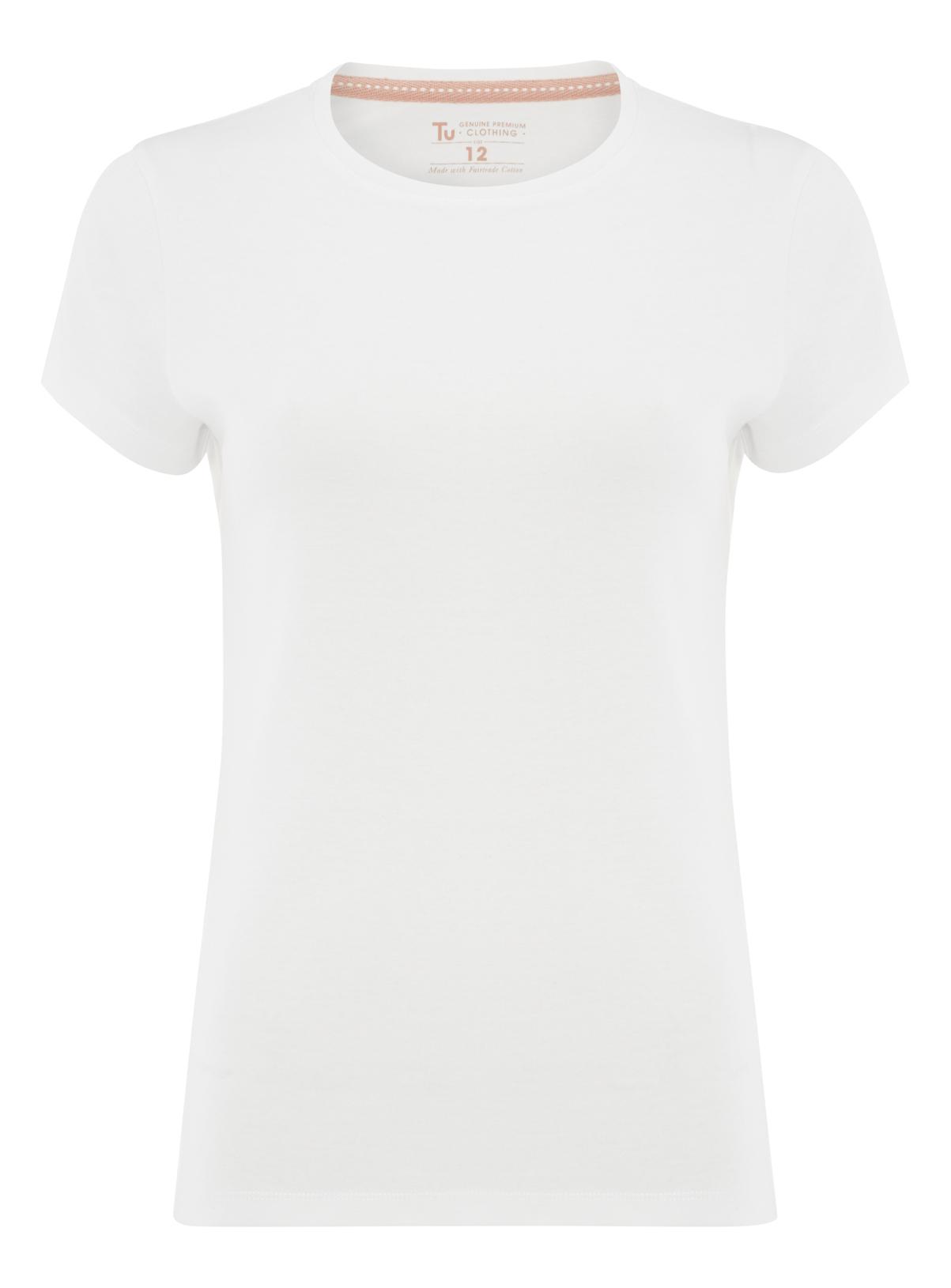 Womens White Plain Crew Neck T-Shirt | Tu clothing
