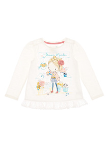 Girls White Flower Market Girl Top (9 months-6 years)