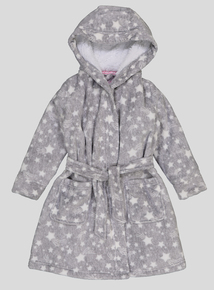 Grey Star Print Dressing Gown (1-12 years)