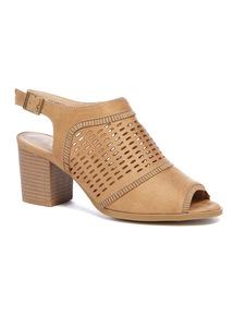 Tan Laser Cut Block Heel Sandals