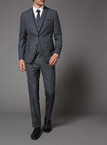 Online Exclusive Grey Textured Slim Fit 100% British wool Suit Jacket