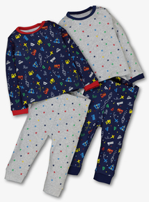 Multicoloured Transport & Star Pyjamas 2 Pack (0-24 months)