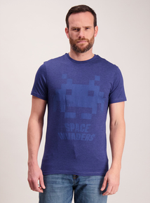 Space Invaders Navy Crew Neck T-Shirt