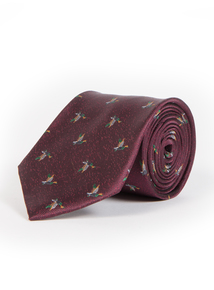 Online Exclusive Burgundy Duck Print Tie