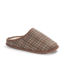 Brown Check Mule Slippers