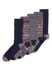 5 Pack Multicoloured Twist Stay Fresh Socks