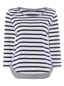 White and Navy Striped Top