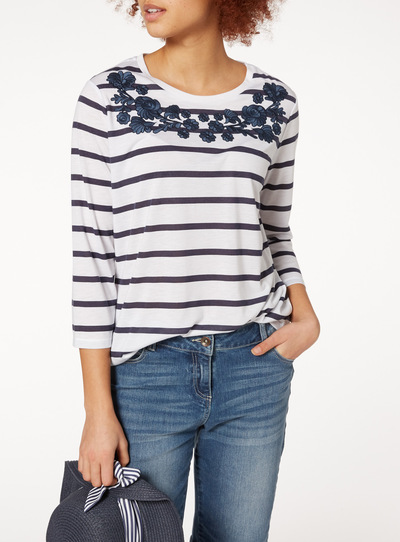 Stripe Embellished Top