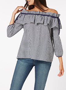 MultiColoured Gingham Bardot Top