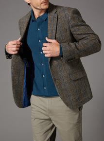 Brown Harris Tweed Blue Check Jacket