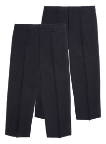 Boys Navy Woven Generous Fit Trousers 2 Pack (3-12 years)