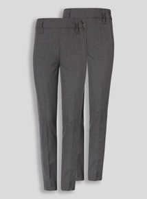 Online Exclusive Grey Longer Leg Trousers 2 Pack (3-12 years)