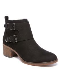 Double Buckle Block Heel Ankle Boot