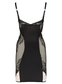 Black Secret Shaping Lace Slip Dress