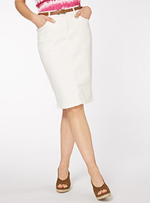 Cream Belted Pencil Skirt