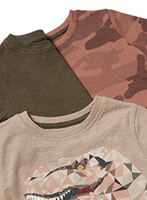 3 Pack Multicoloured Dinosaur T-Shirts (3-14 Years)