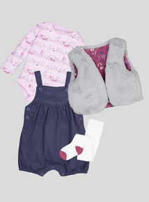 Multicoloured Dress, Bodysuit, Dungaree & Tight 4 Piece Set (0-24 Months)