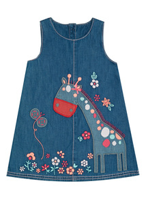 Denim Embroidered Giraffe Pinny (0 - 24 months)