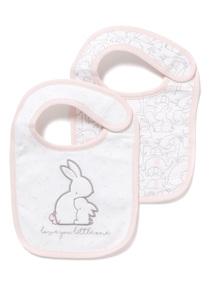 2 Pack Pink Bunny Bibs