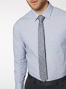 Navy and Silver Floral Tie