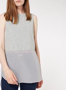 Grey Woven Hem Vest