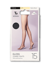 15 Denier Gloss Tights 3 Pack
