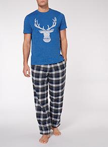Navy Christmas Tee and Check Trouser Pyjama Set