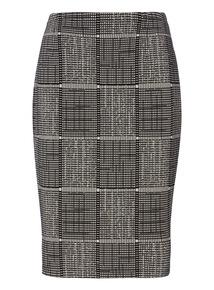 Mono Grid Detail Pencil Skirt