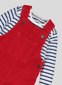 Red Corduroy Dungaree Set (0-24 Months)