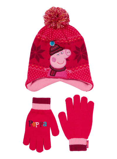 a6f995aa5082a Kids Girls Pink Peppa Pig Hat and Gloves Set (9 months-5 years)