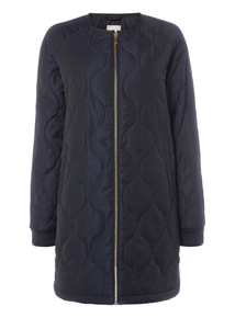 Navy Quilted Bomber Coat