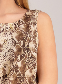 Brown Snakeskin Print Shell Top