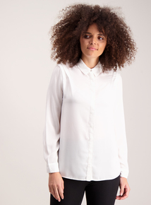 Cream Ruffle Detail Long-Sleeved Shirt