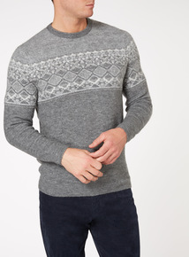 Grey Fairisle Pattern Crew