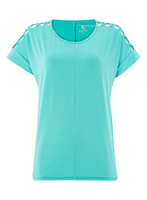Teal Cut out Sleeve T-shirt