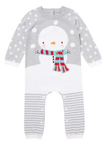 Grey Christmas Snowman Knitted Romper (0-24 months)