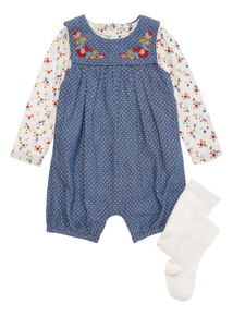 Blue Denim Bibshort Bodysuit and Tights Set (0-24 months)