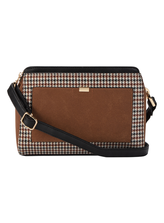 Brown and Black Check Cross Body Bag