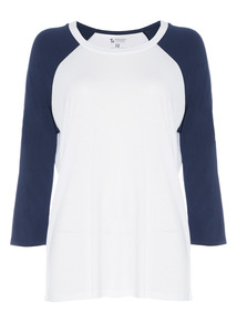 Navy Colour Block Raglan Top