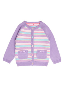 Girls Purple Striped Cardigan (0-24 months)