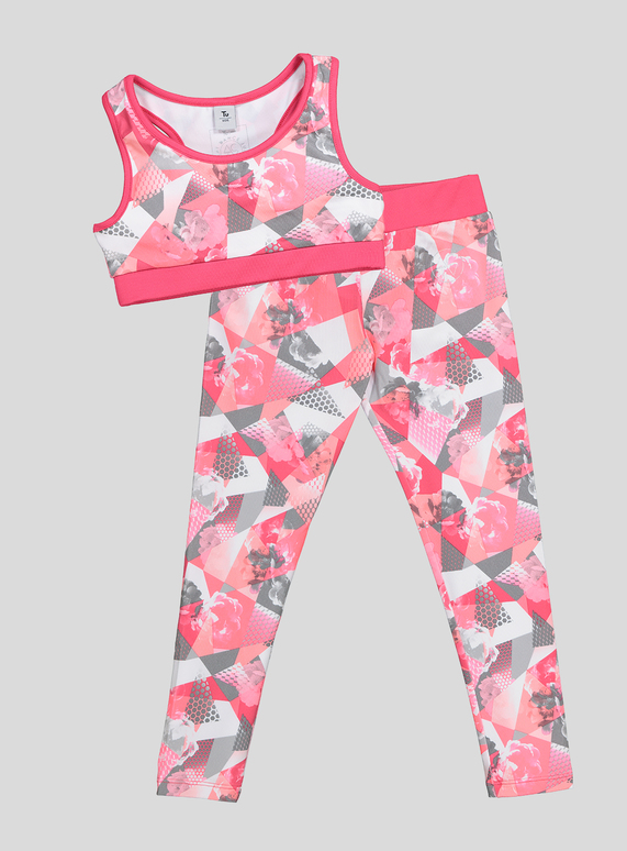 e850012cdcd645 Kids Pink Dance Crop Top and Leggings Set (5-14 years) | Tu clothing