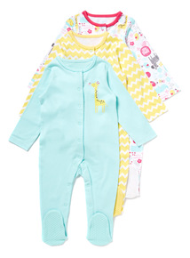 3 Pack Multicoloured Sleepsuits (Newborn-24 months)