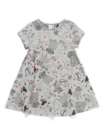 Grey Dog Print Swing Dress (3-14 years)